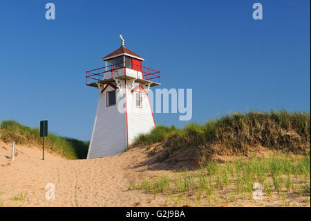 Lighthouse in sand dunes at Covehead Harbour - Stock Photo