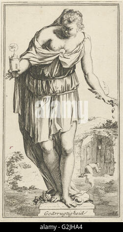 Personification of piety, Arnold Houbraken, 1710 - 1719 - Stock Photo