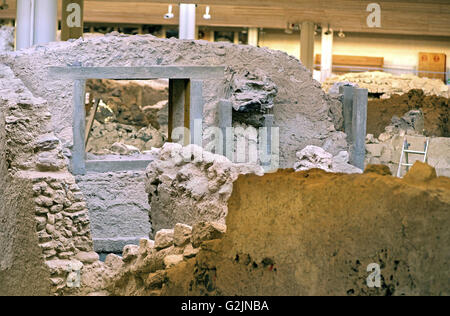 Akrotiri, one of the most important prehistoric settlements of the Aegean in Santorini island, Cyclades, Greece - Stock Photo