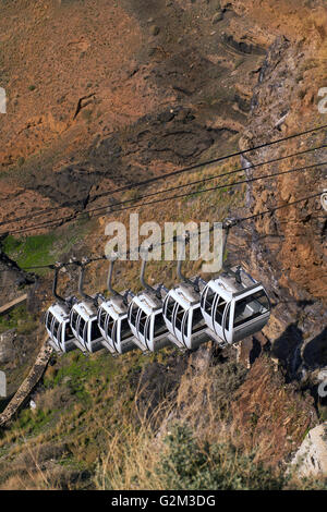 Cable - cars mounting up from the old port to the Fira resort, in Santorini island, in Cyclades, Greece - Stock Photo