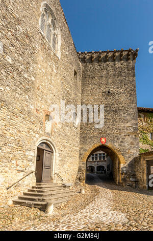 Old city of Perouges, Ain department near Lyon, Auvergne Rhones Alpes, France, Europe - Stock Photo