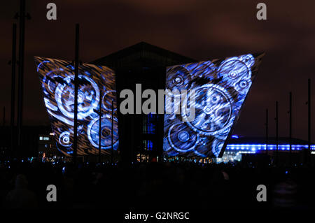 Belfast, UK. 08/04/2012 - The largest light and firework display of its type is held at the Titanic Signature Building - Stock Photo