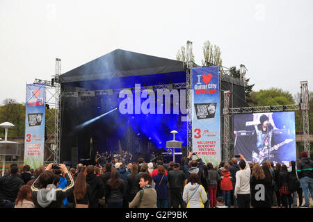 Rockkonzert STATUS QUO at Hala Stulecia, Wroclaw, Silesia, Poland, Europe - Stock Photo