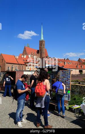 Souvenir stall at Sand island, Wroclaw, Silesia, Poland, Europe - Stock Photo