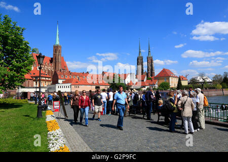 View from Sand island to Cathedral Island, Wroclaw, Silesia, Poland, Europe - Stock Photo