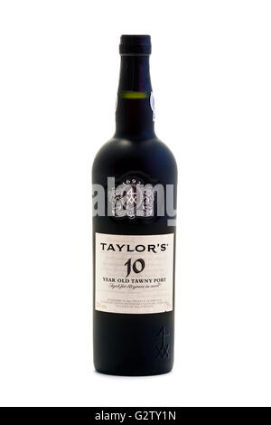 Bottle of Taylor's 10 Year Old Tawny Port - Stock Photo