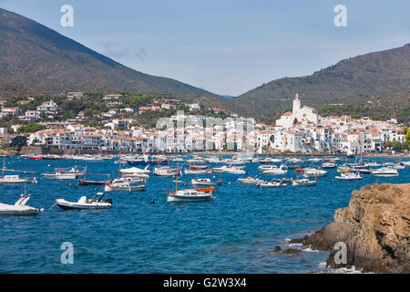 View of the beautiful village of Cadaques in the Costa Brava in Catalonia, Spain. - Stock Photo
