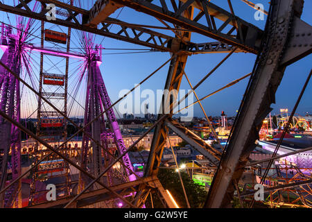 View from Ferris wheel in the Prater towards the Danube City , DC Tower 1, Austria, Vienna, Wien - Stock Photo