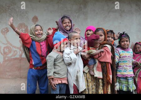 children from a tribal village in maldah,west bengal - Stock Photo
