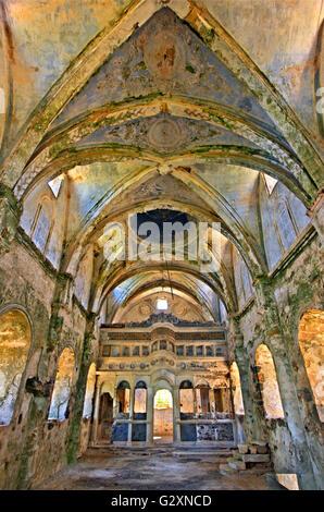 The old Greek-Orthodox church of Panagia Pyrgiotissa  in the 'ghost village' of Kayakoy Lycia, Mugla province, Turkey. - Stock Photo