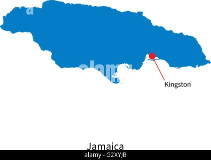 Detailed vector map of Jamaica and capital city Kingston - Stock Photo
