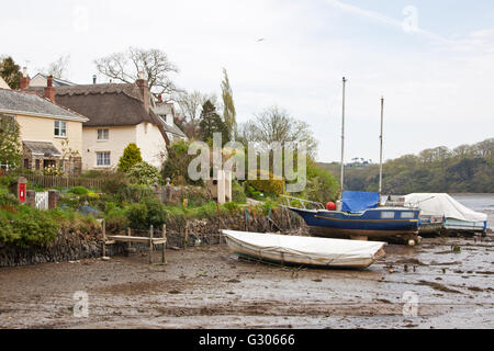 The small natural harbour at St Clement village in Cornwall at low tide on the Tresillian river - Stock Photo