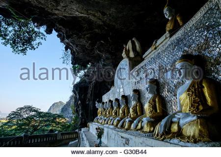 Ya Teak Pyan cave, Hpa An, Kayin State (Karen State), Myanmar (Burma), Asia - Stock Photo