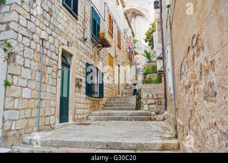 Ispod Mincete, street near Minceta tower, Grad, the old town, Dubrovnik, Dalmatia, Croatia - Stock Photo