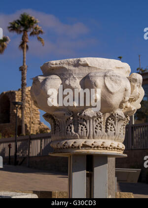 Corinthian columns fragment from Caesarea Maritima ruins, was a city built by Herod.Israel - Stock Photo