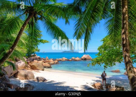 Beautiful Anse Georgette beach, Praslin island, Seychelles - Stock Photo