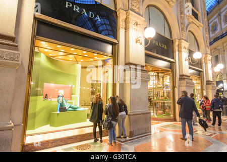 Galleria Vittorio Emanuele II: shop of Prada, Italy, Lombardei, Lombardy, , Mailand, Milan - Stock Photo