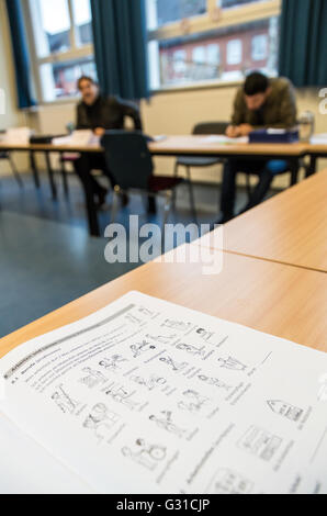 Bremen, Germany, Syrian refugees in German lessons - Stock Photo