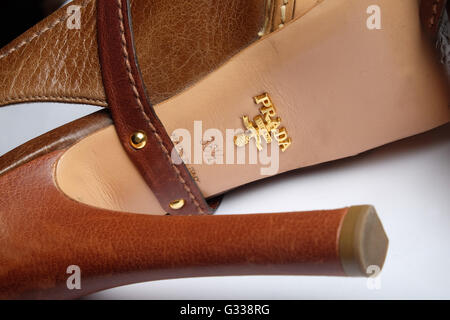 Classic hand-made Italian designer Prada shoes. - Stock Photo