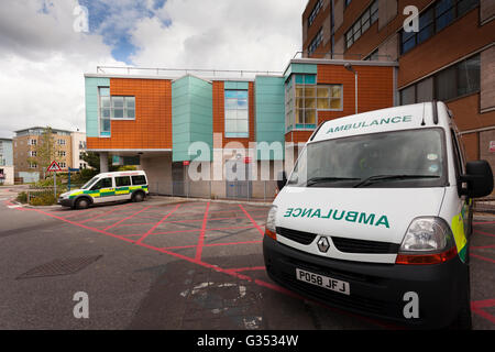Ambulance parked outside the Haematology department of Southampton General Hospital, Southampton, Hampshire, England - Stock Photo