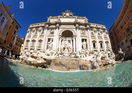 Crowds of tourists at the Trevi Fountain, Rome, Italy, Europe - Stock Photo