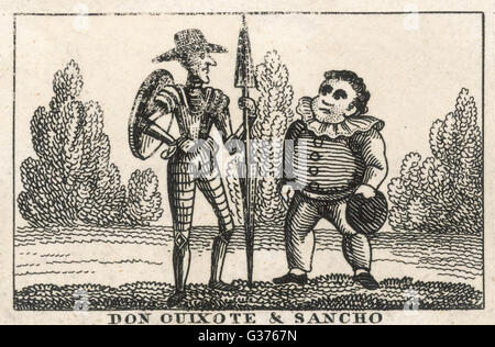 Don Quixote and Sancho Panza          Date: First published: 1605-15 - Stock Photo