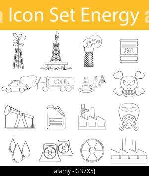 Drawn Doodle Lined Icon Set Energy I with 16 icons for the creative use in graphic design - Stock Photo