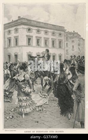The triumphal return to Madrid by Ferdinand VII(1784-1833), (deposed King of Spain) on 23rd March 1808.     Date: - Stock Photo