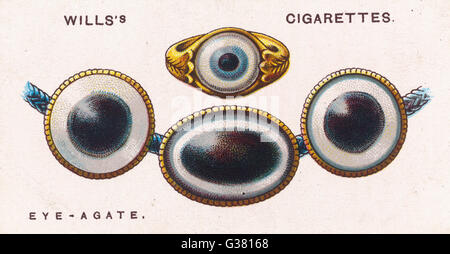 EYE-AGATE TALISMAN Some agates, when cut,  resemble an eye - so they are  worn as a protection against  the Evil - Stock Photo