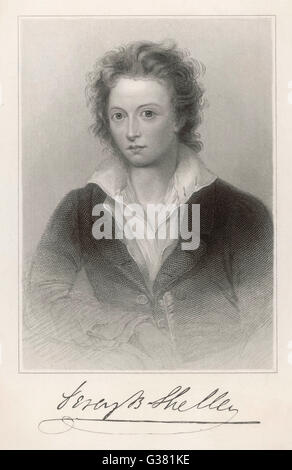 PERCY BYSSHE SHELLEY  English romantic poet        Date: 1792 - 1822 - Stock Photo