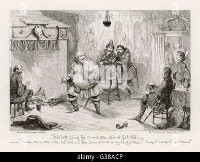 Falstaff giving his account of  the affair at Gadshill  Act II Scene IV      Date: 1857 - Stock Photo
