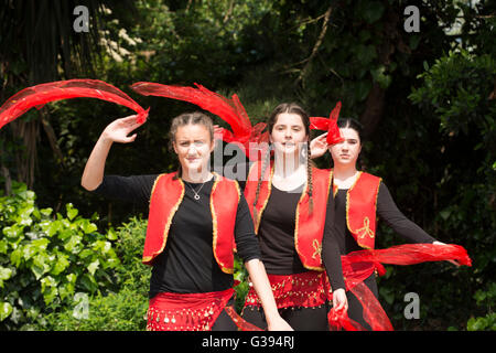 London Golders Green Childs Hill Park Albanian Community Childrens' Day Festival young teenagers national costume - Stock Photo