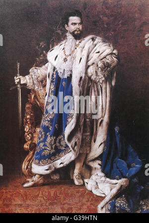 KING LUDWIG II OF BAVARIA  Reigned from March 1864 until June 1886       Date: 1845 - 1886 - Stock Photo