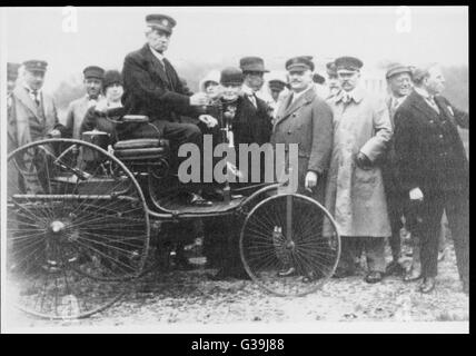 CARL FRIEDRICH BENZ  German engineer and pioneer  in the construction of motor  vehicles, with his original  motor - Stock Photo