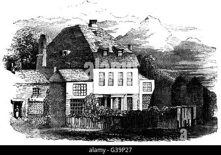 JAMES HENRY LEIGH HUNT  English poet and essayist's birthplace at Southgate       Date: 1784 - 1859 - Stock Photo