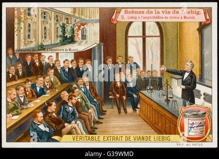 JUSTUS VON LIEBIG  German scientist lecturing at Munich University       Date: 1803 - 1873 - Stock Photo