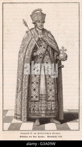 EMPEROR LEOPOLD II  Holy Roman Emperor (1790-2) in his imperial robes       Date: 1747 - 1792 - Stock Photo