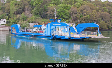 The King Harry ferry, a vehicular chain ferry which crosses the Carrick Roads reach of the river Fal estuary in - Stock Photo