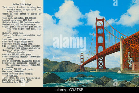 Golden Gate Bridge, San Francisco, California, USA, with statistical details. Work began in January 1933, and the - Stock Photo