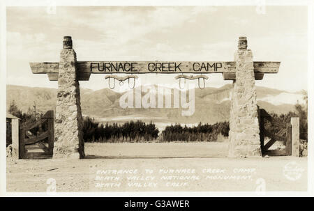Entrance to Furnace Creek Camp, Death Valley National Monument, Death Valley, California, USA.      Date: circa - Stock Photo