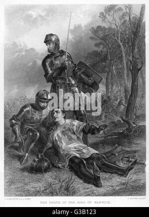 "RICHARD NEVILLE, EARL OF  WARWICK (""THE KINGMAKER"")  His death at the Battle of  Barnet 14 April 1471. - Stock Photo"