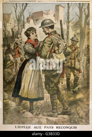 A British soldier is greeted  by a young French woman,  delighted that her village has  been recaptured from the - Stock Photo