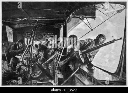 The interior of a Zeppelin in  the course of a bombing raid on England : the rear nacelle  during an attack by British - Stock Photo