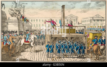 Execution of Louis XVI during  the French Revolution         Date: 21 January 1793 - Stock Photo