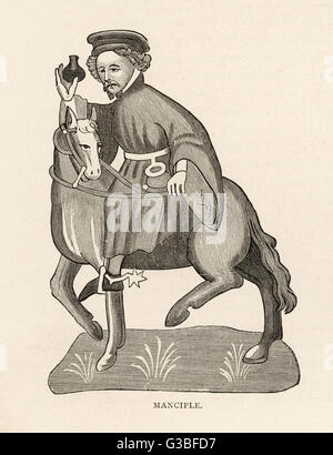 The Manciple riding with spurs         Date: First published: circa 1387 - Stock Photo