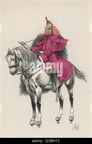 A trumpeter of the Cuirassiers  of the Garde Imperiale, at the  time of the French campaign in  Italy.      Date: - Stock Photo