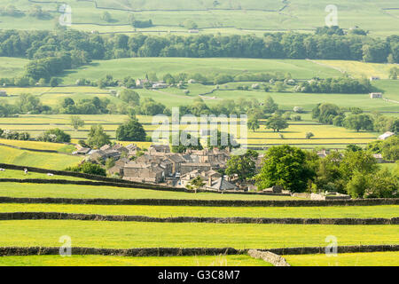 Askrigg village in Wensleydale, The Yorkshire Dales, England, June 2016 - Stock Photo