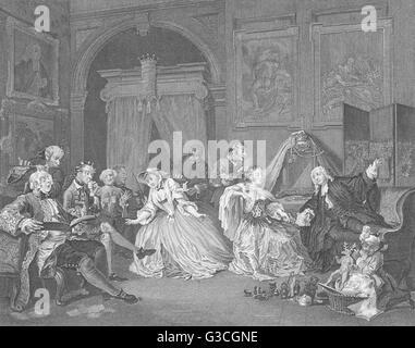 MARRIAGE A-LA-MODE: TOILETTE SCENE: Hogarth, antique print 1835 - Stock Photo