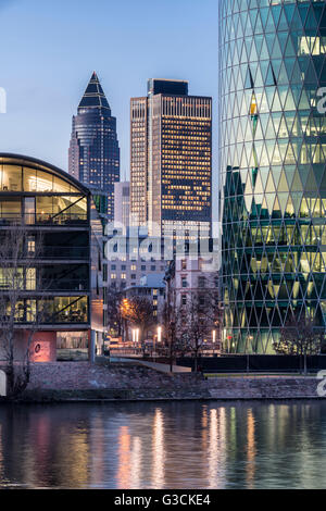 Frankfurt on the Main, Hessen, Germany, view at the Frankfurt Westhafen with the Messeturm and the Tower 185 in - Stock Photo
