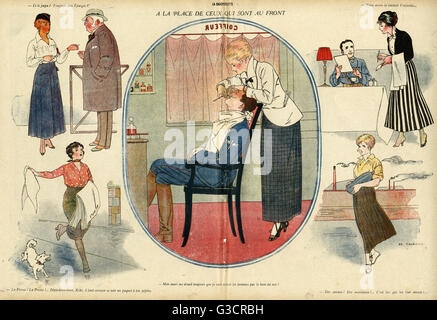 Cartoon, Replacing those who are at the Front, showing French women taking on men's jobs during the First World - Stock Photo